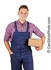Home delivery - Handsome worker in uniform delivering...