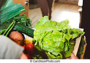 Home delivery of fresh vegetables, grocery box