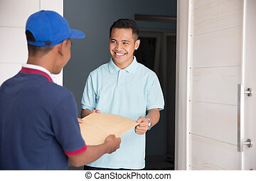 home delivery service - delivery service male sending...