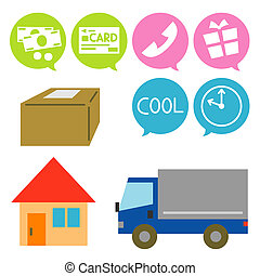 home delivery service, icons, illustration