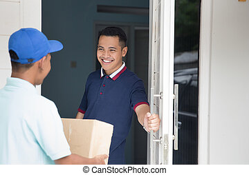 home delivery service - portrait of delivery male service...