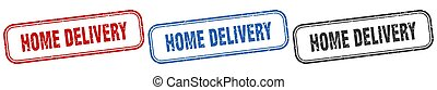 home delivery square isolated sign set. home delivery stamp