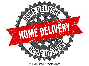 home delivery stamp. grunge round sign with ribbon