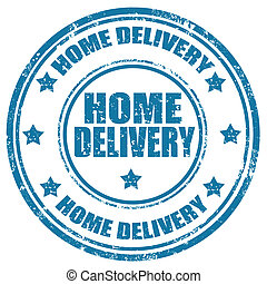 Home Delivery-stamp - Grunge rubber stamp with text Home...