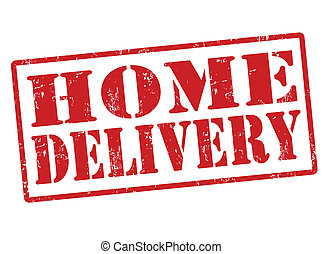 Home delivery stamp - Home delivery grunge rubber stamp on...