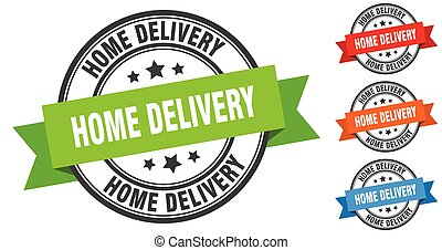 home delivery stamp. round band sign set. label