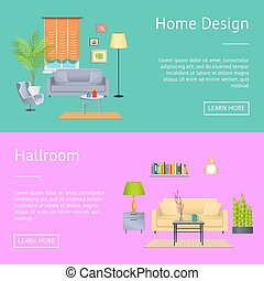 Home Design and Hallroom on Vector Illustration