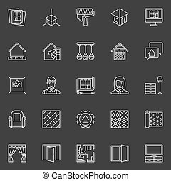 Home Design icons - vector interior design outline symbol or...