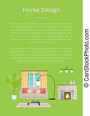 Home Design Poster and Text Vector Illustration