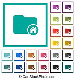 Home directory flat color icons with quadrant frames on white background