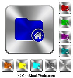 Home directory rounded square steel buttons