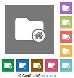 Home directory square flat icons