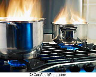 home disasters - pans in fire on stoves. Horizontal shape