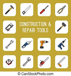 Home diy tools colored line icons. Carpenter worker utility...