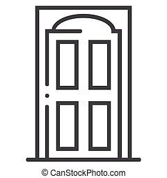 Home door line icon on white background