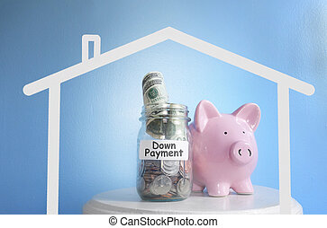 Piggy bank with Down Payment money jar, with house outline