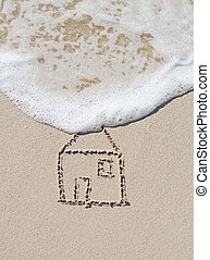 Home, drawing in the sand and surf