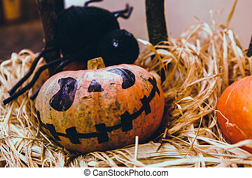 home., dynia rzeźba, rodzina, stół, szczęśliwy, przygotowując, halloween