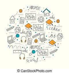 Home education concept in circle.