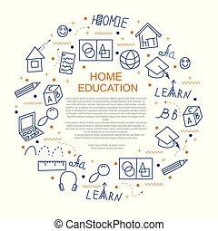 Home education concept in circle