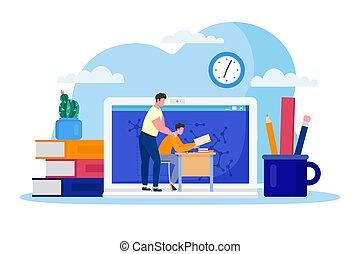 Home education online, vector illustration. Boy sit at desk...