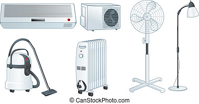 Home electric appliances set vector