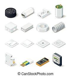 Home electric isometric icon set