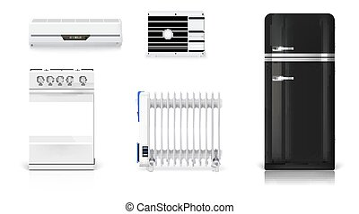 Home electrical appliances. Air conditioning, electric oil radiator, refrigerator with retro design, gas stove. Set icons of household appliances on white background. 3D illustration