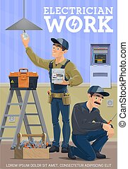 Home electrical service, electrician workers