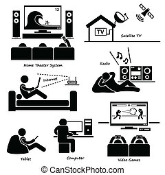 A set of human pictogram using different type of home objects. They are man using tv, hifi, satellite dish, Internet, radio, tablet, computer, and video games.
