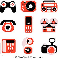 Electronic Home Devices Icons Set