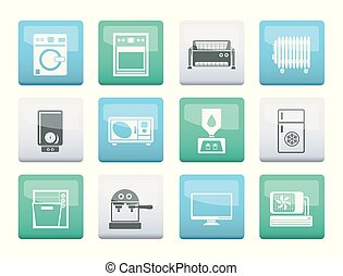 Home electronics and equipment icons over color background