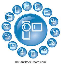 Home electronics buttons - Home electronics button set