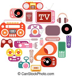 Electronic icons in the round shape. Colorful flat vector images isolated on a white background.