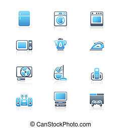 Modern home electronics icon set in blue-gray colors