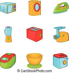 Home electronics icons set, cartoon style