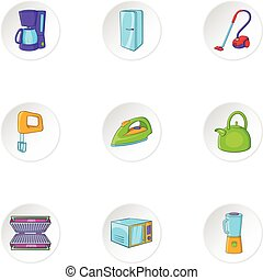 Home electronics icons set, cartoon style