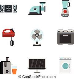 Home electronics icons set, flat style