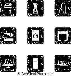 Home electronics icons set, grunge style