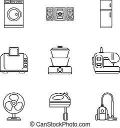 Home electronics icons set, outline style
