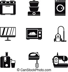 Home electronics icons set, simple style