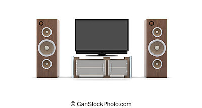 Home Entertainment System - 3D rendered Illustration....