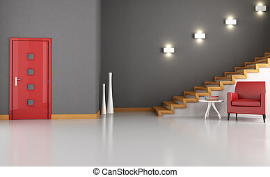 home entrance - empty home foyer with red armchair and...