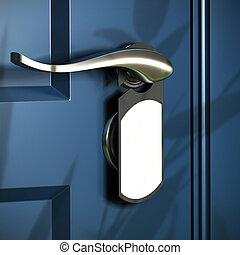 home entrance, handle and grey door hanger, blue door, ...