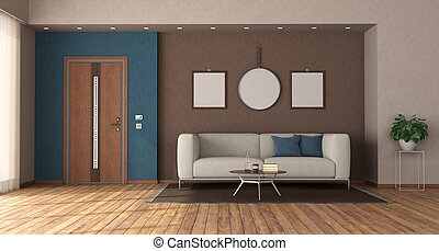 Home entrance with closed front door and sofa