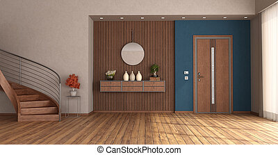 Home entrance with closed front door and wooden staircase