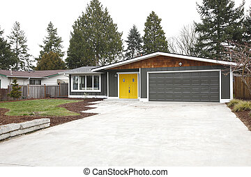 Home entrance with yellow front doors