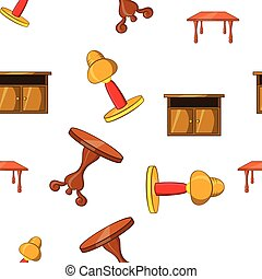 Home environment pattern, cartoon style