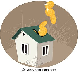 Home equity - A penny bank in a form of house, coins pouring...
