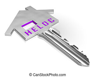 Home Equity Line Of Credit Key Representing Capital Release From Property - 3d Illustration